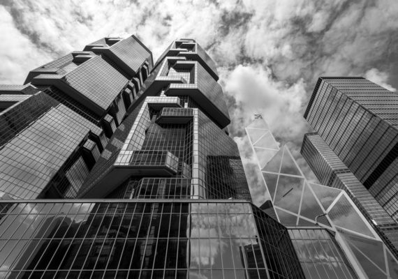 The Hong Kong Corporate Buildings (black and white)